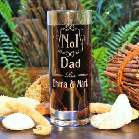 Engraved No 1 Dad Glass, Dad, Daddy, Grandad Father's Day Gift